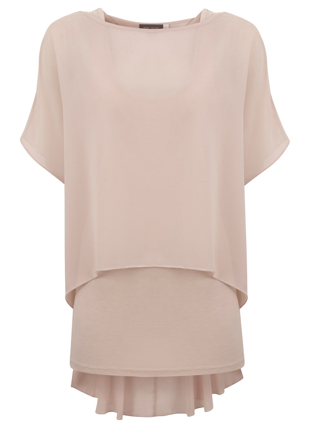 Nude Peplum Double Layer Top