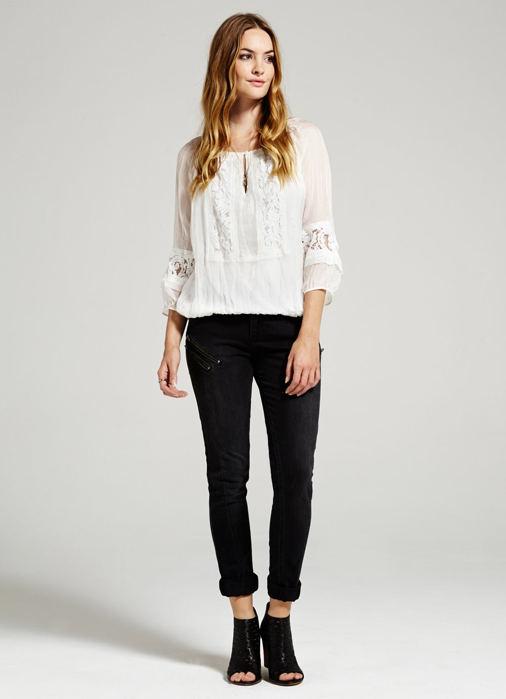 Ivory Lace Detail Blouson Top