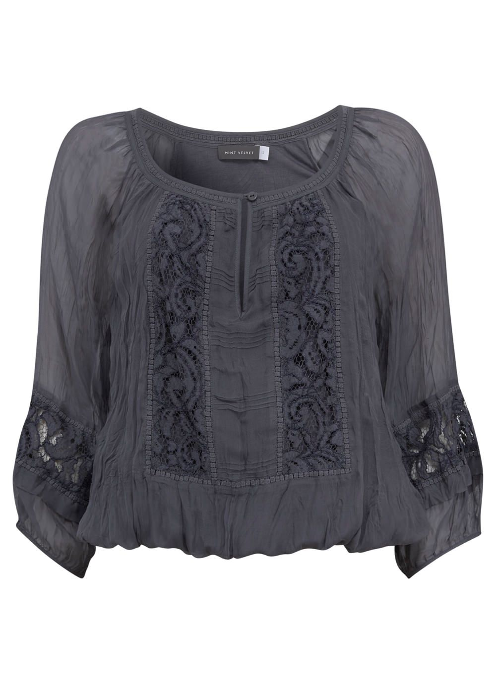 Steel Lace Detail Blouson Top