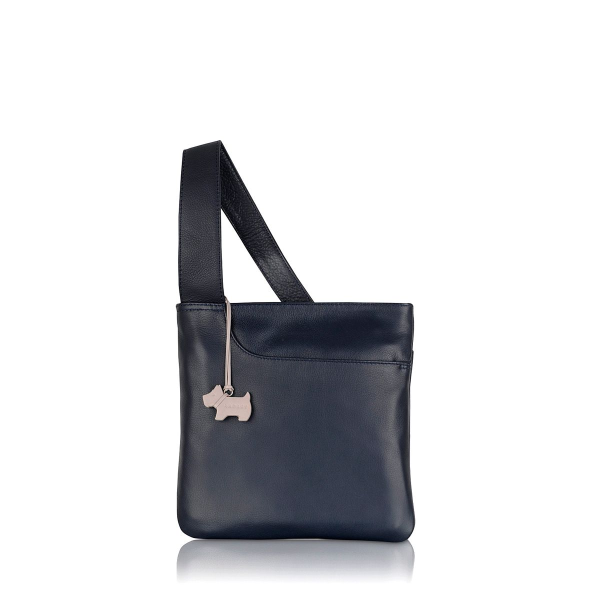 Pocket bag small ziptop xbody leather navy bag
