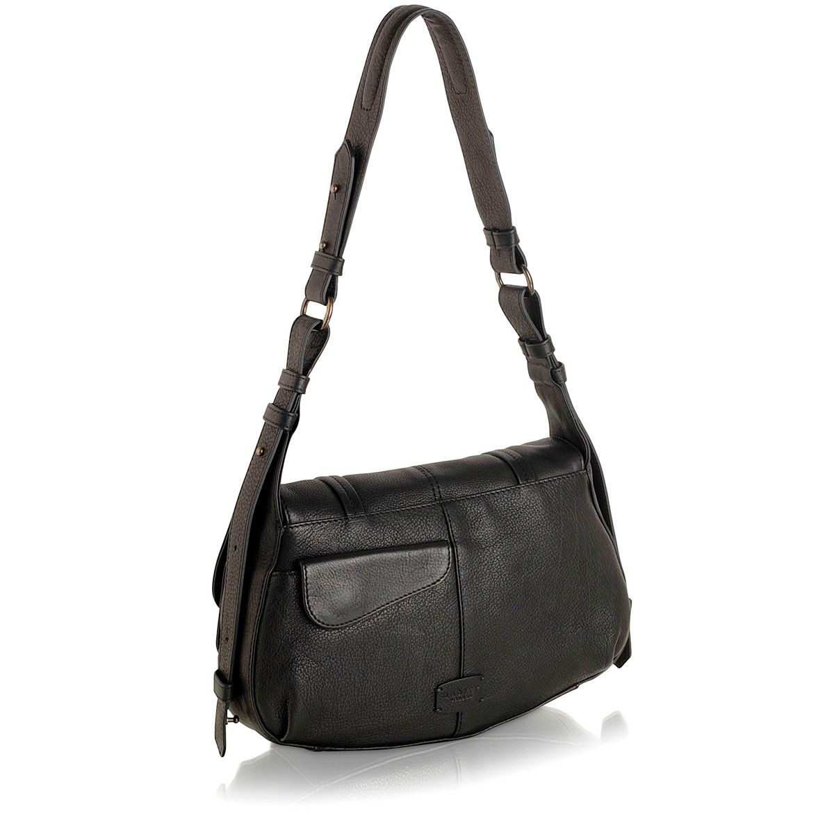 Grosvenor medium leather black flapover handbag