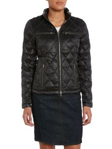 Funnel neck short jacket in black