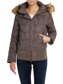 Short jacket with a faux fur hood in stone