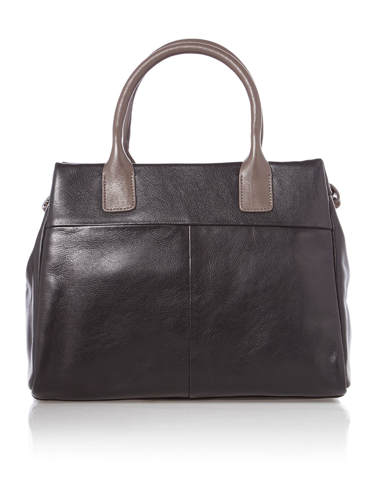 Portland medium blk leather ztop multiway handbag