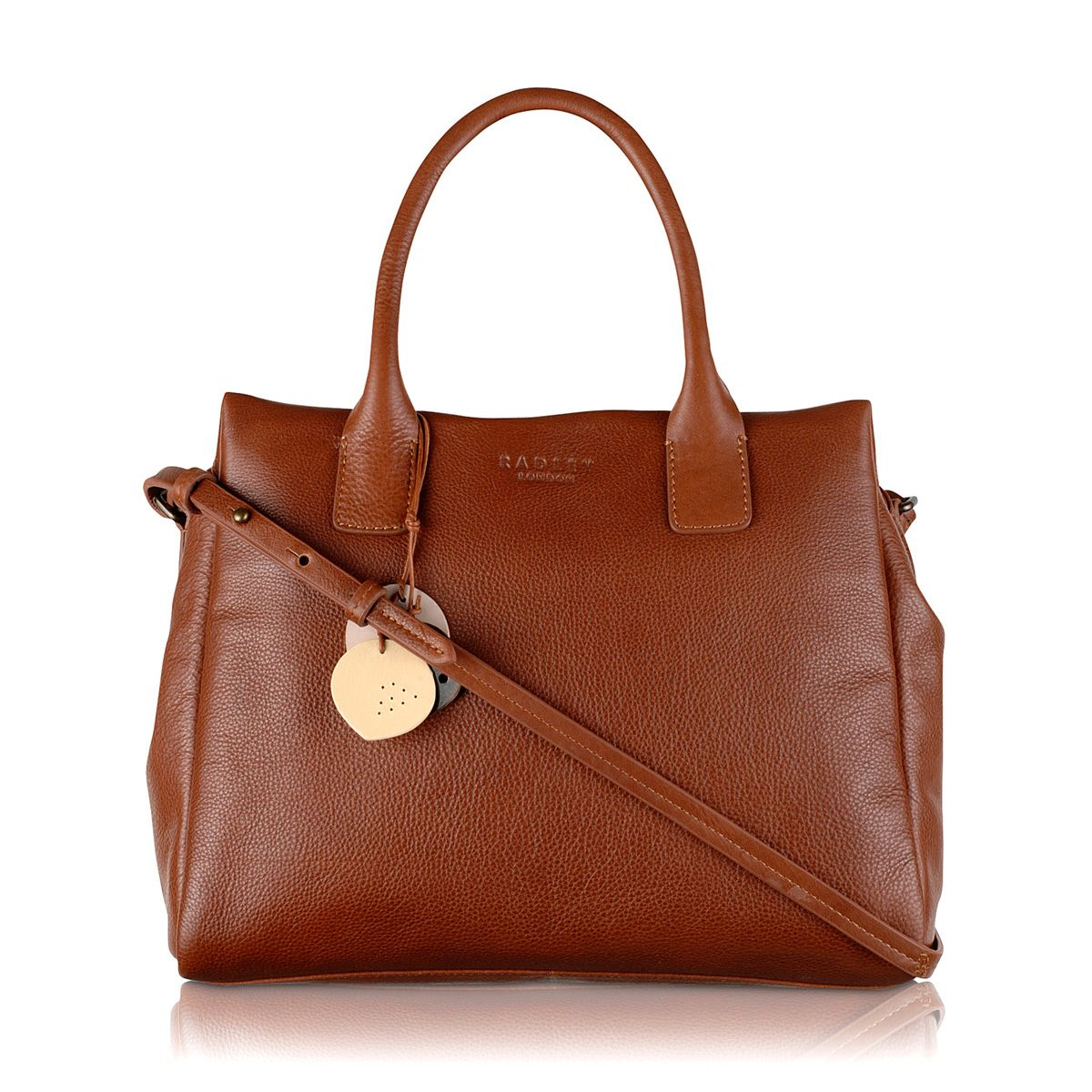 Portland medium tan leather ztop multiway handbag