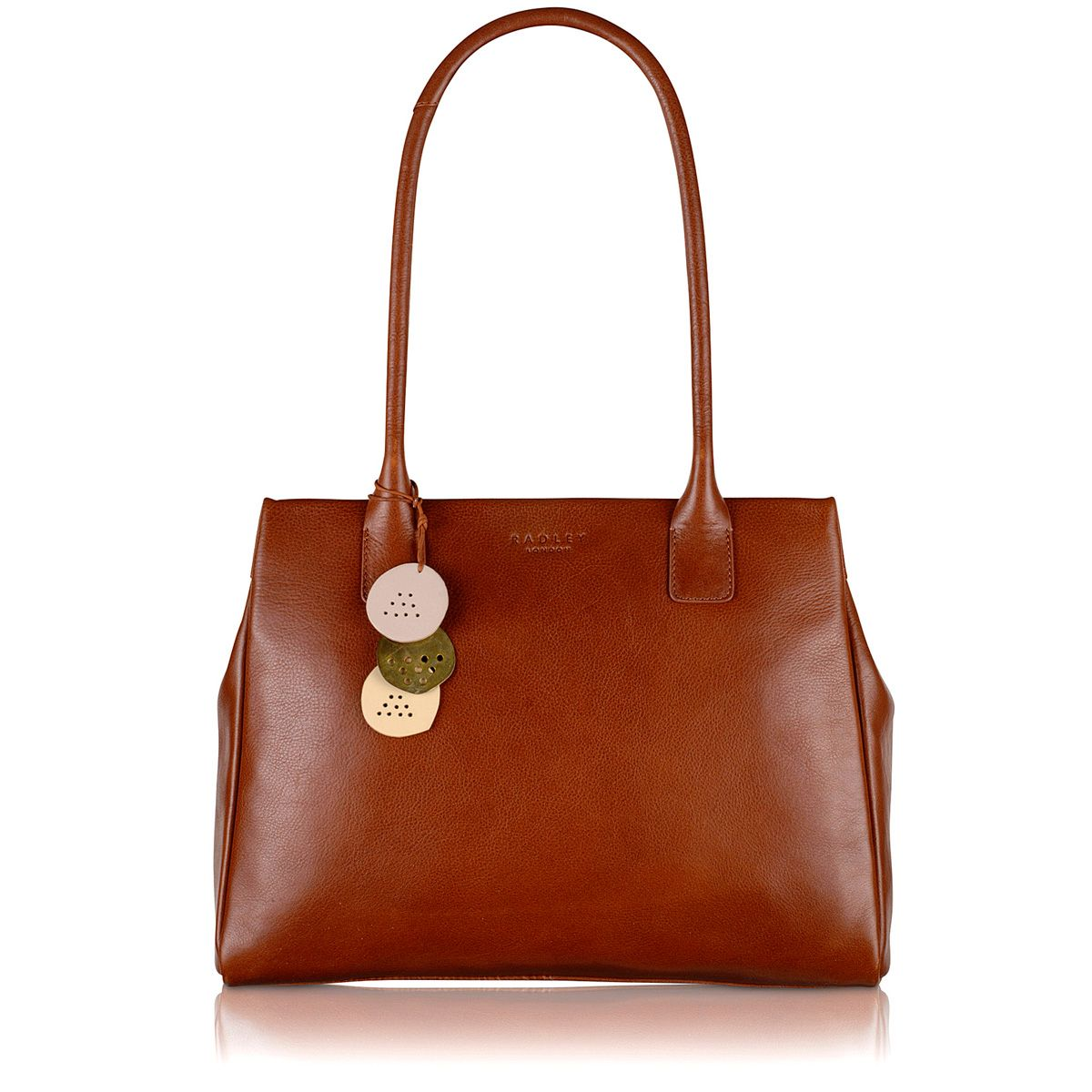 Portland medium tan leather ztop shoulder handbag