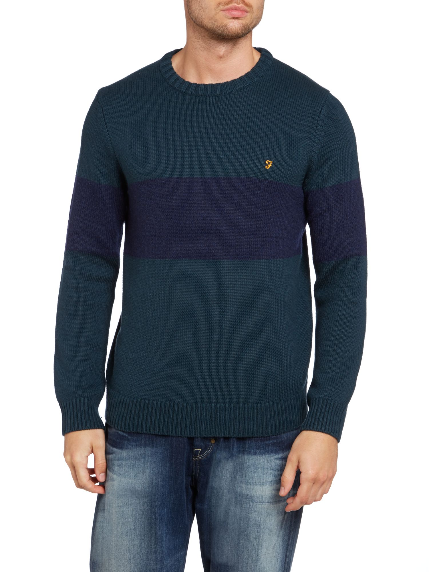 Crew neck block stripe jumper