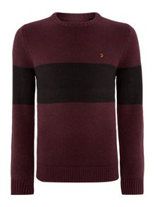 Farah Crew neck block stripe jumper
