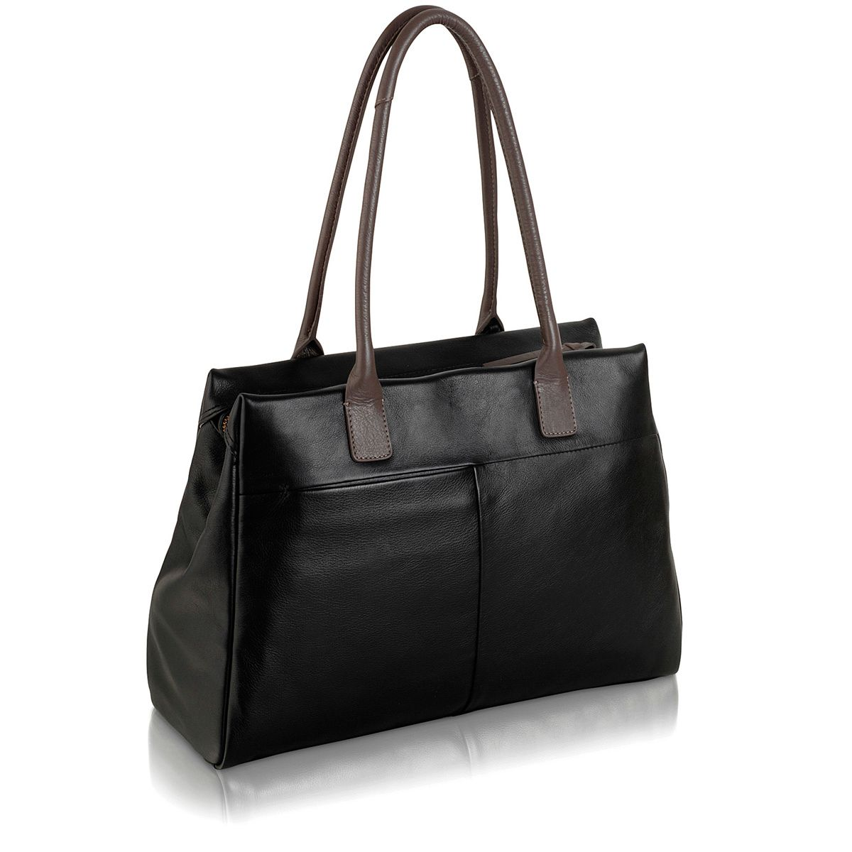 Portland large blk leather ztop shoulder handbag