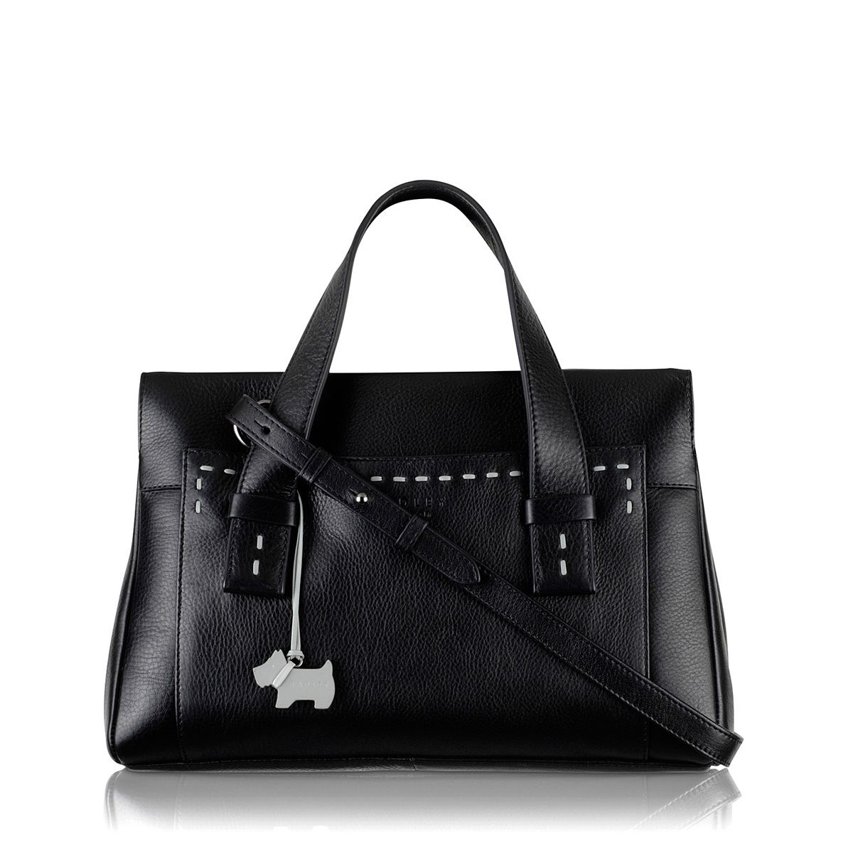 Villiers med blk leather ztop multiway handbag