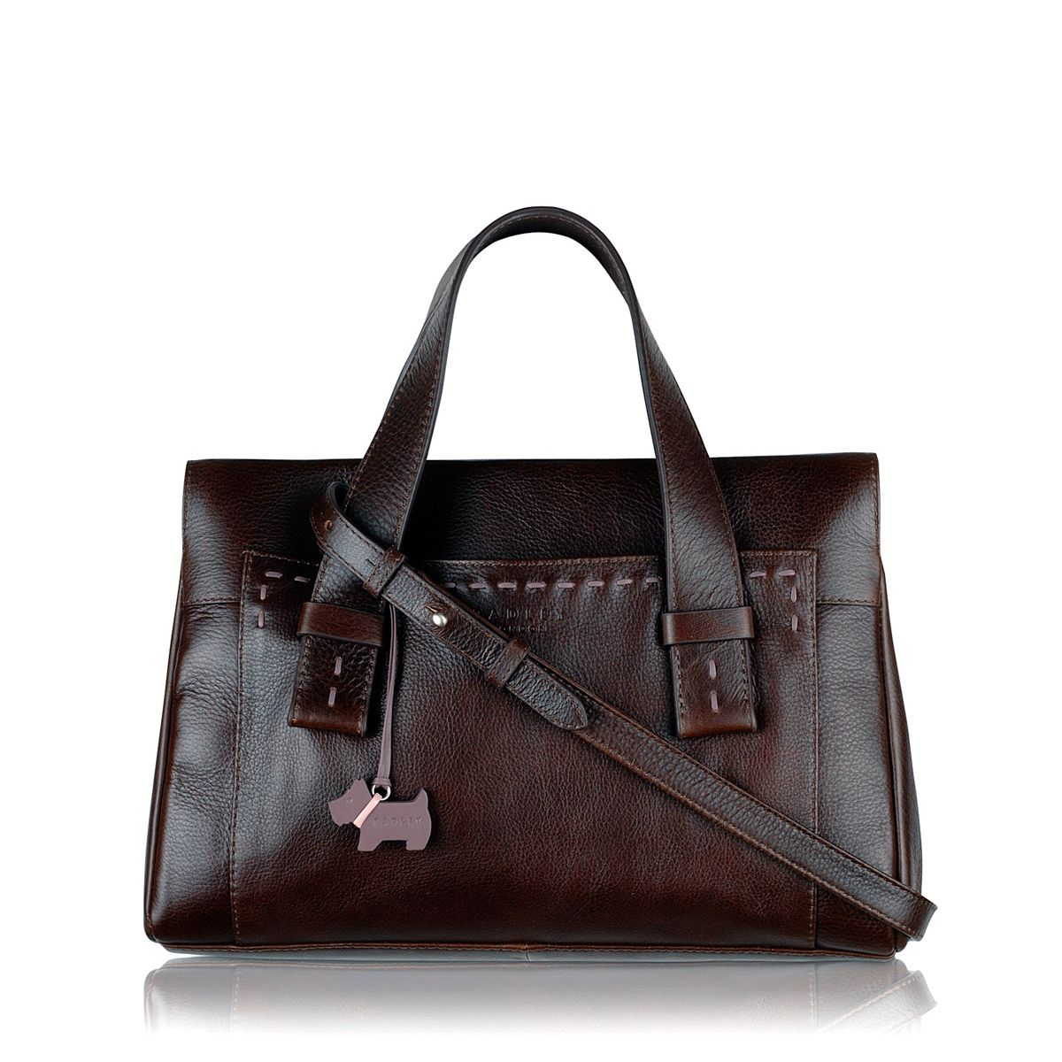 Villiers med brn leather ztop multiway handbag