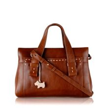 Villiers med tan leather ztop multiway handbag