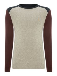 Crew neck colour block jumper
