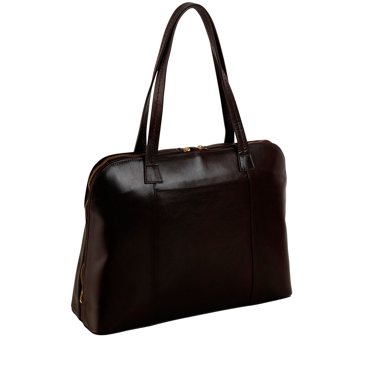 Villiers med black leather ztop tote handbag