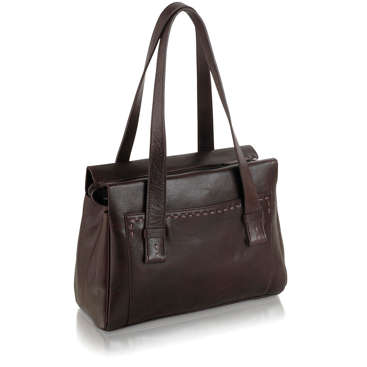 Villiers med brown leather ztop tote handbag