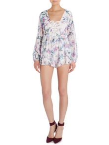 Reverse LS Wrap Front Lily Print Playsuit