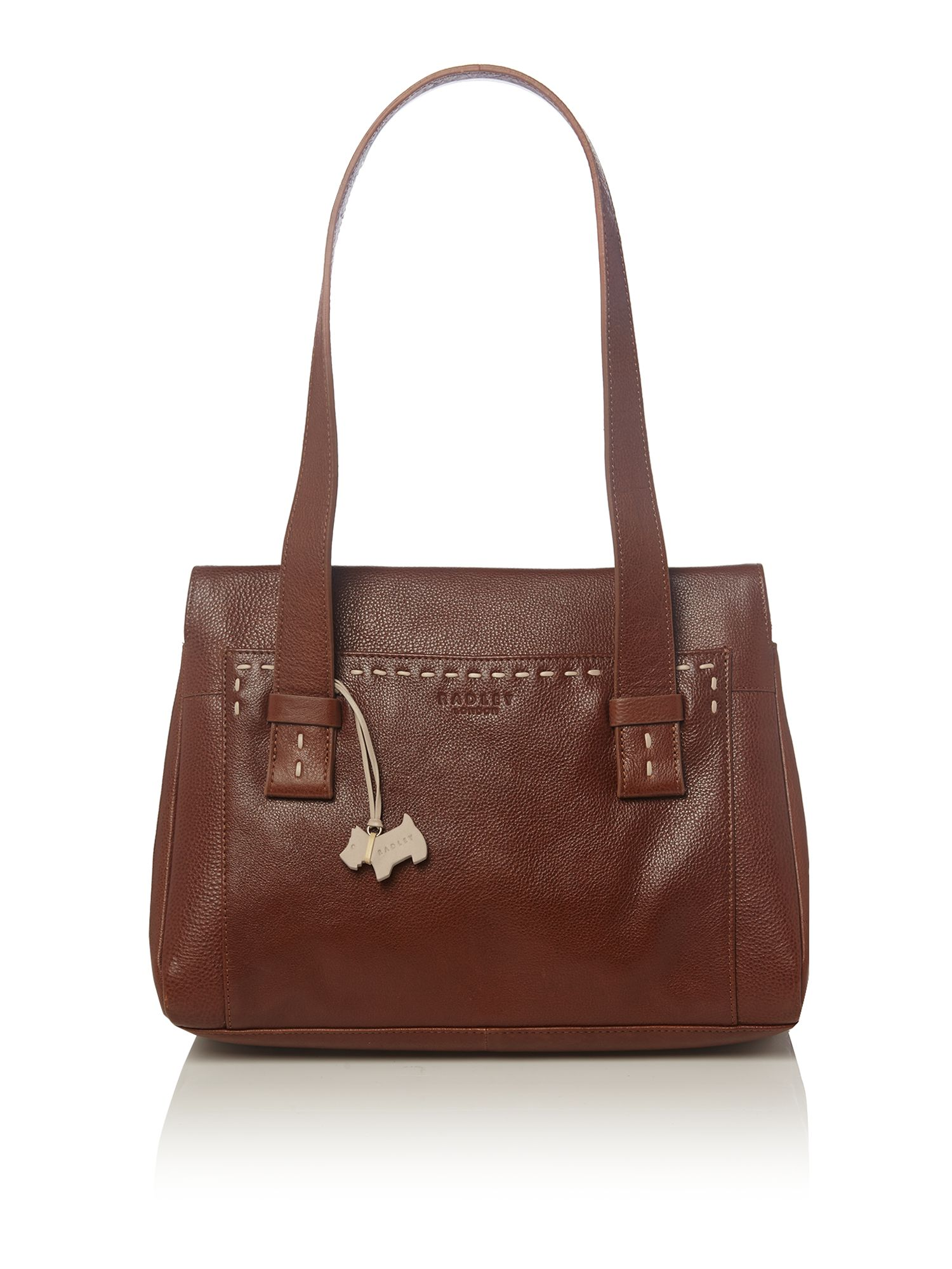 Villiers med tan leather ztop tote handbag