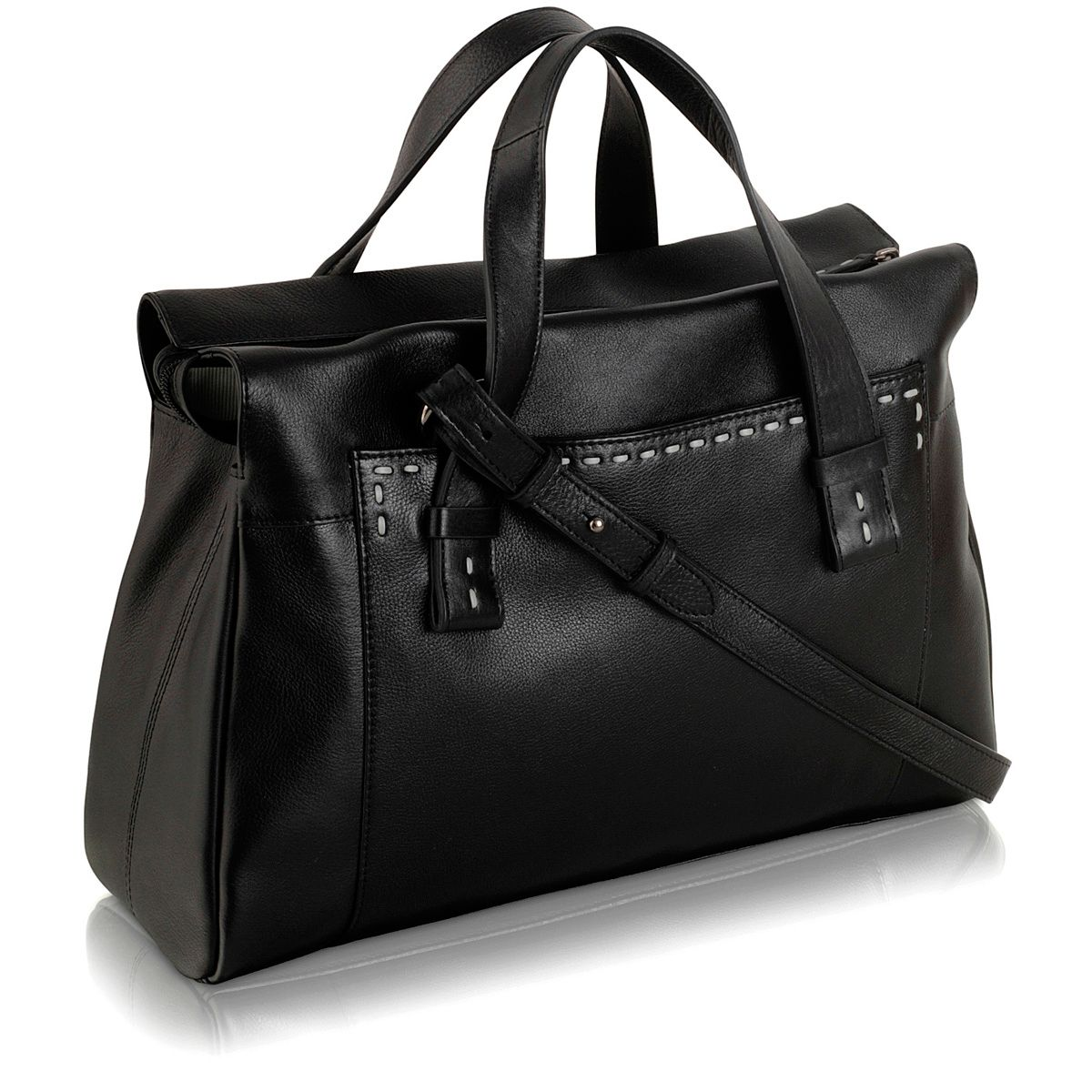 Villiers large blk leather ztop multiway handbag