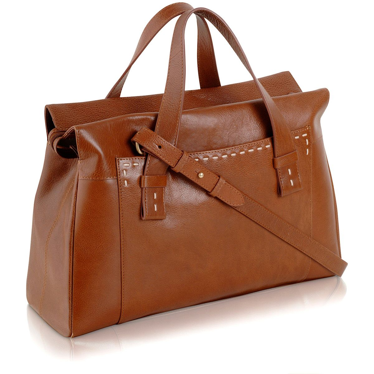 Villiers large tan leather ztop multiway handbag
