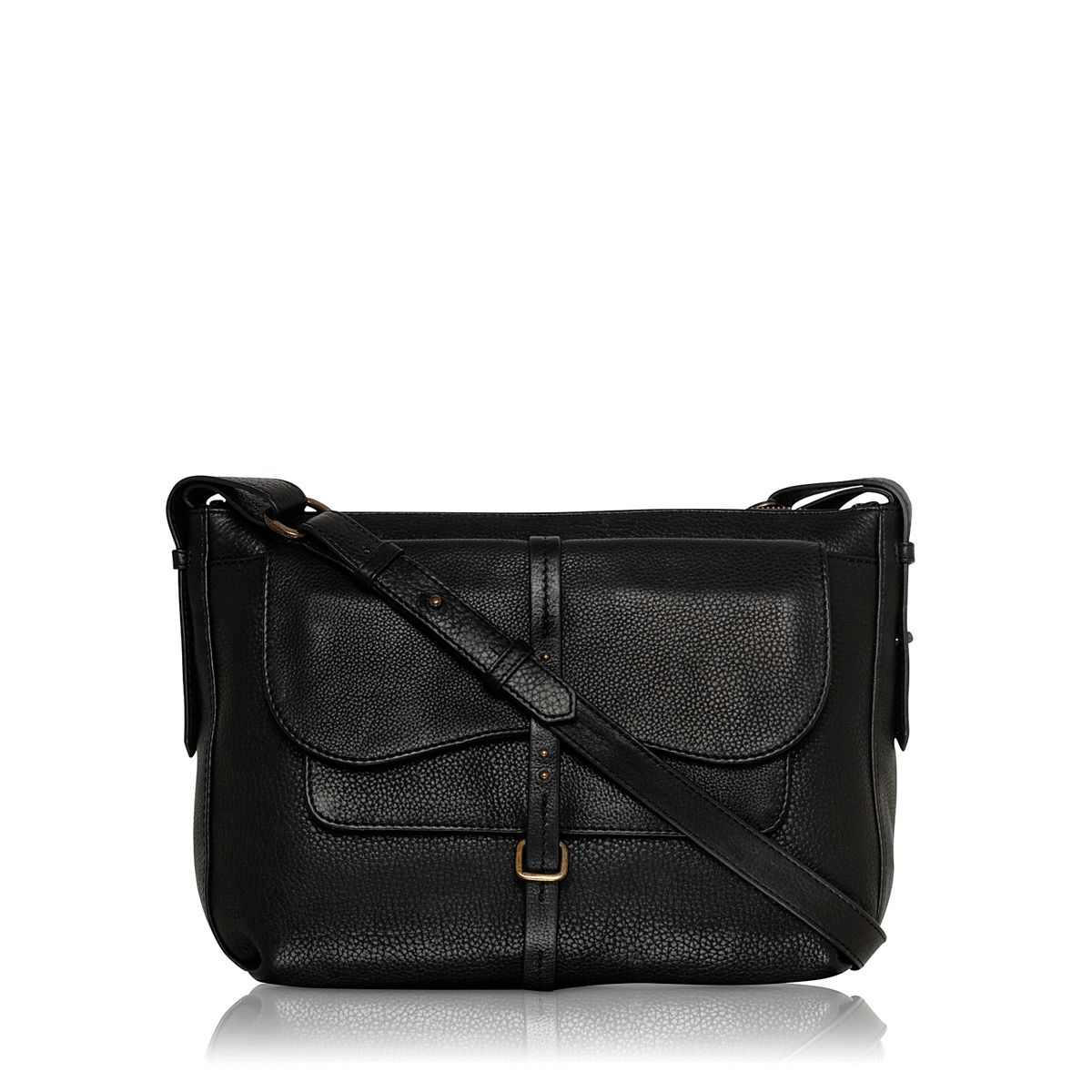 Grosvenor medium leather black crossbody handbag