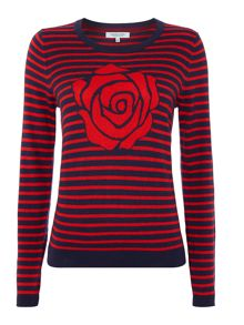 Rose intarsia knit jumper