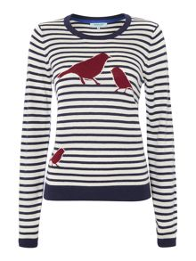 Bird intarsia knit jumper
