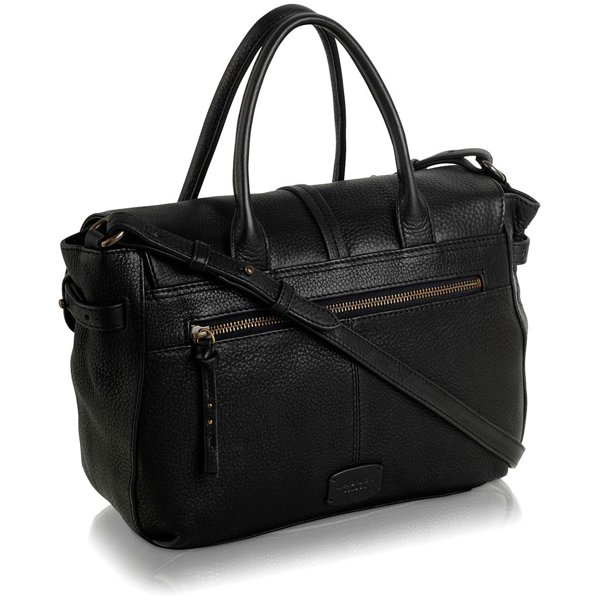 Grosvenor med leather blk flapover mway handbag