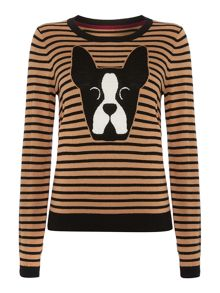 Boston boxer intarsia knit jumper