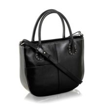 Exclusive leather blk ziptop crossbody handbag