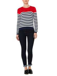 Bow front and stripe knit jumper