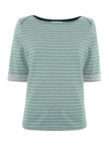 Boat neck stripe top