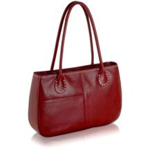 Exclusive leather red tote handbag