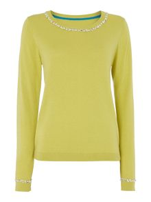 Knit bling collar jumper