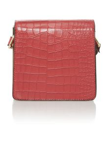 Red small foldover crossbody handbag