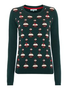 Knit pudding intarsia jumper