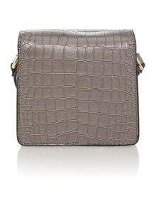 Grey small foldover crossbody bag