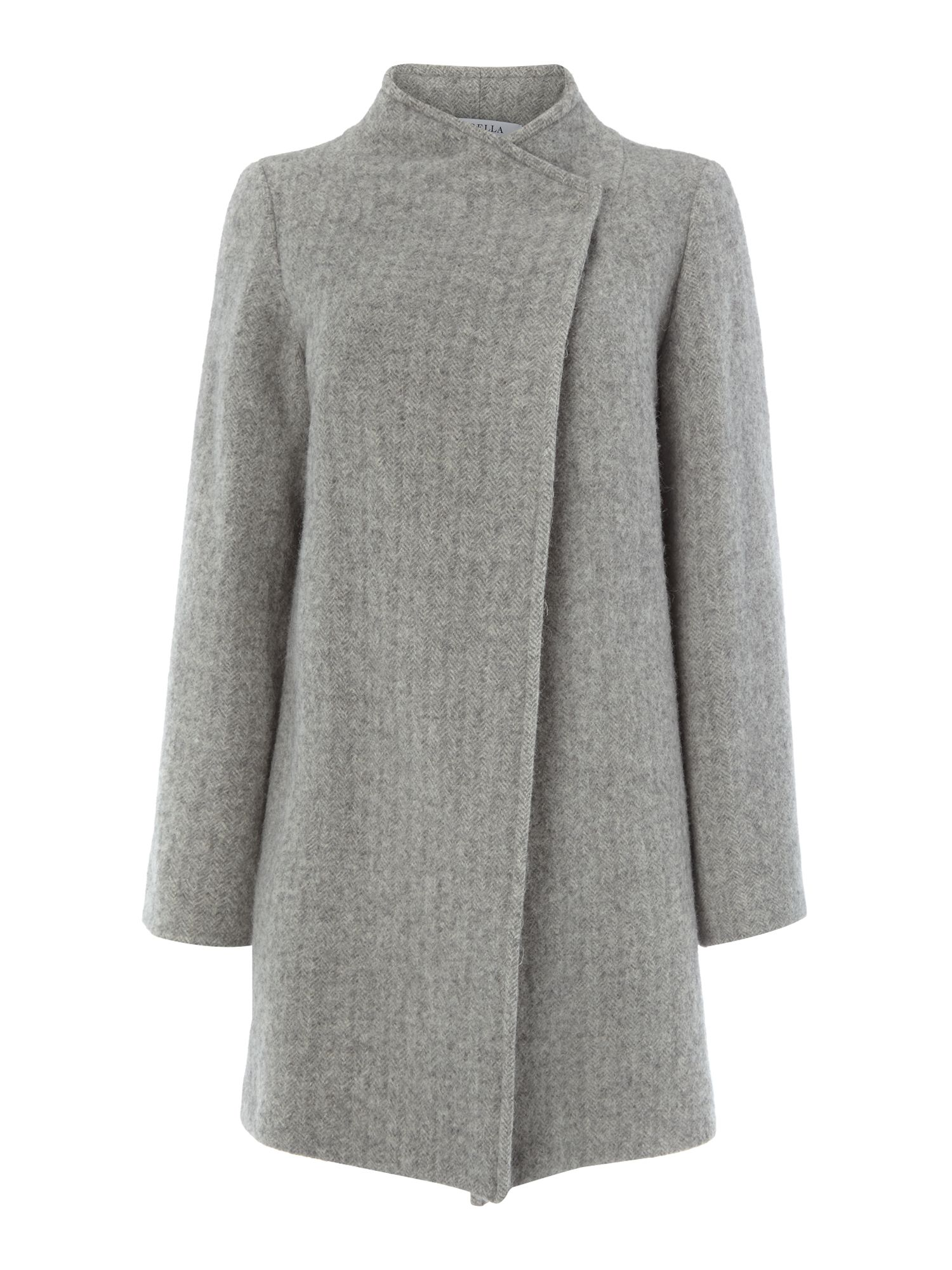 Sale asymetric popper wool coat