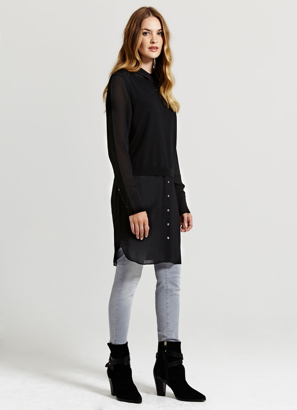 Black Sheer Shirt Knit