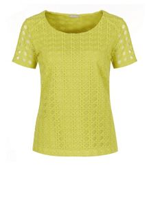 Chartreusse geo lace top