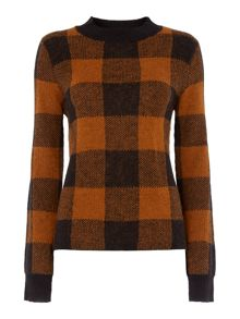 Knit check collar jumper