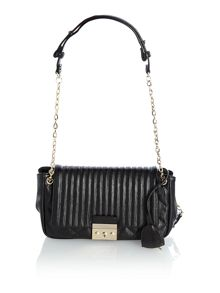 Black foldover shoulder handbag