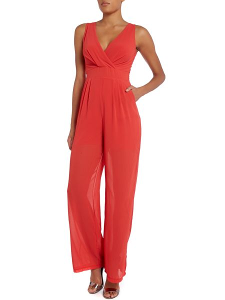 Wal-G Sleeve less wrap front jumpsuit