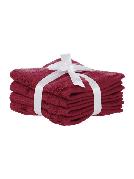 Luxury Hotel Collection Face Cloth in Red Velvet (Set of 4)