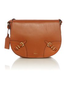 Tan medium cross body saddle bag