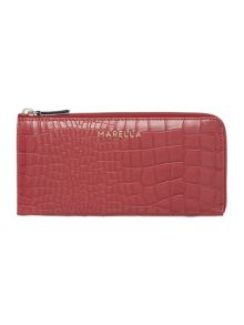 Red croc ziparound purse