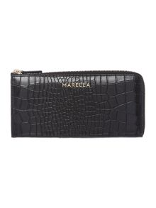 Black croc ziparound purse
