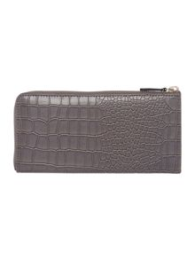 Grey croc ziparound purse