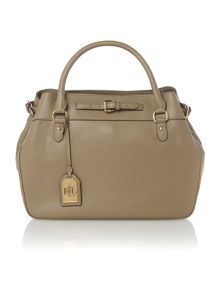 Taupe large belted cross body tote bag