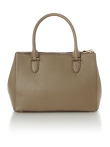 Taupe large double zip tote bag
