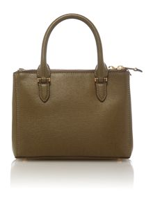 Green mini double zip tote bag
